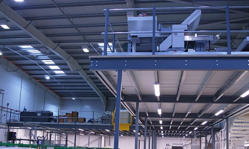 Mezzanine floor in warehouse facility installed by Thistle Systems, Scotland.