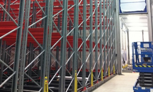 Mobile racking installation in large warehouse in Scotland.