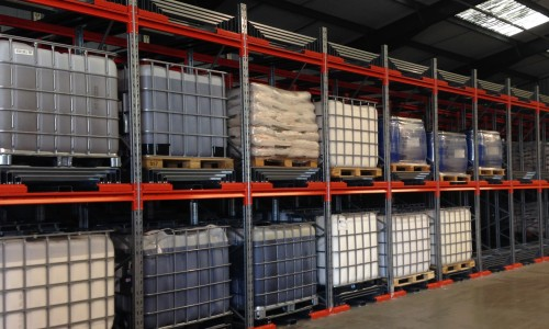 IBC pallet racking for warehouse which provided an IBC storage solution.